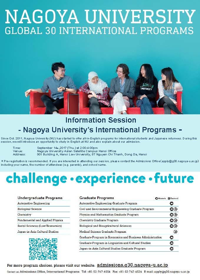 Buổi thông tin học bổng của Đại học Nagoya (thông tin bằng tiếng Anh)